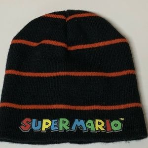 Super Mario Brothers Hat Beanie Cap Ski Black Red